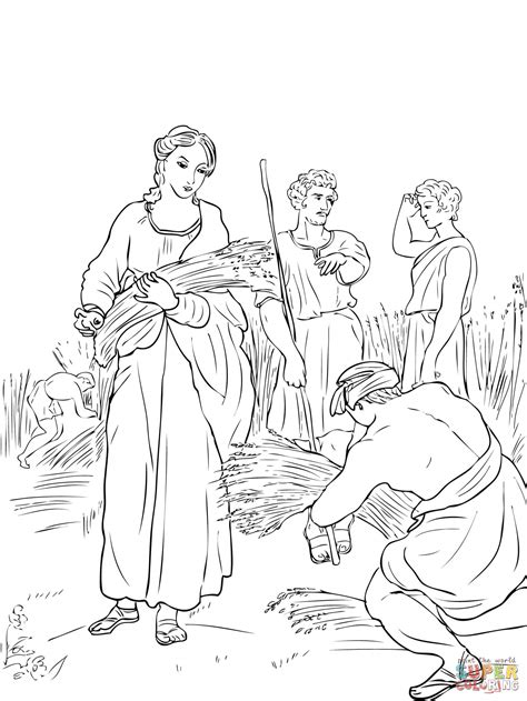 coloring pages for ruth and boaz ruth working in the fields coloring online super coloring