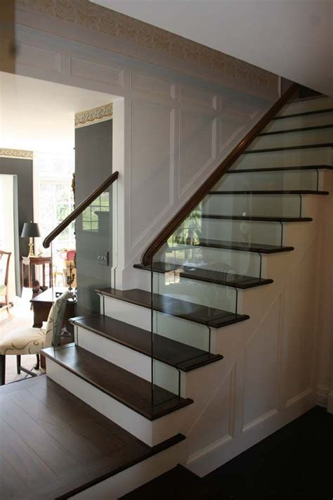 Wood And Glass Banister by Best 20 Wood Stair Railings Ideas On