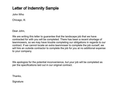 Withdrawal Letter Of Indemnification Letter Of Indemnity