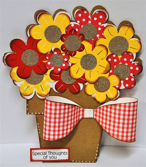 flower pot shaped card template to paper special thoughts of you