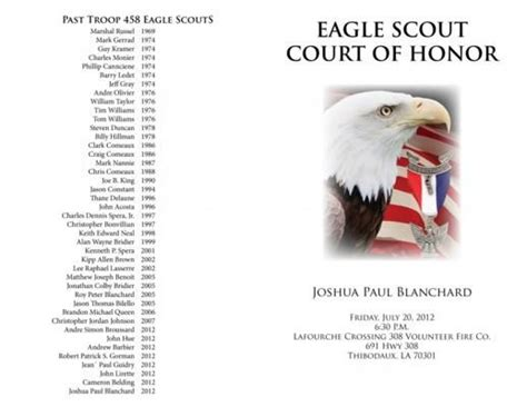 eagle scout ceremony program template boy scouts pinterest