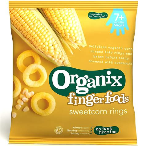 organix food organix organic 7 months finger foods sweetcorn rings 20g snacks planet