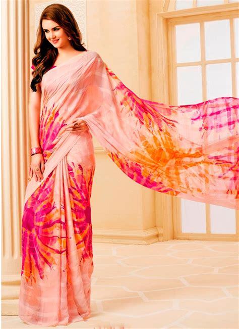 Blouse Batik Ismi Pink Orange Gi pink yellow printed batik effect designer saree