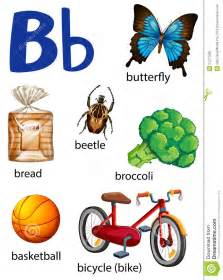 things that start with the letter b stock vector image