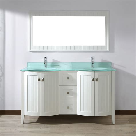 Glass Bathroom Vanity Top Shop Spa Bathe Beaumont White Undermount Sink Bathroom Vanity With Glass Top Common 60