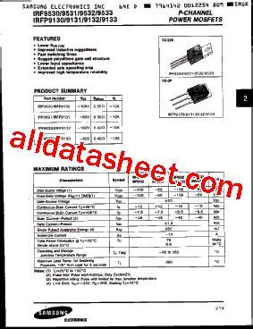 transistor mosfet irf9530 irf9530 datasheet pdf samsung semiconductor