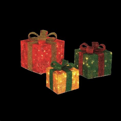 set of 3 lit gift boxes home accents pre lit gift boxes yard decor set of 3 ty187 1218 the home depot