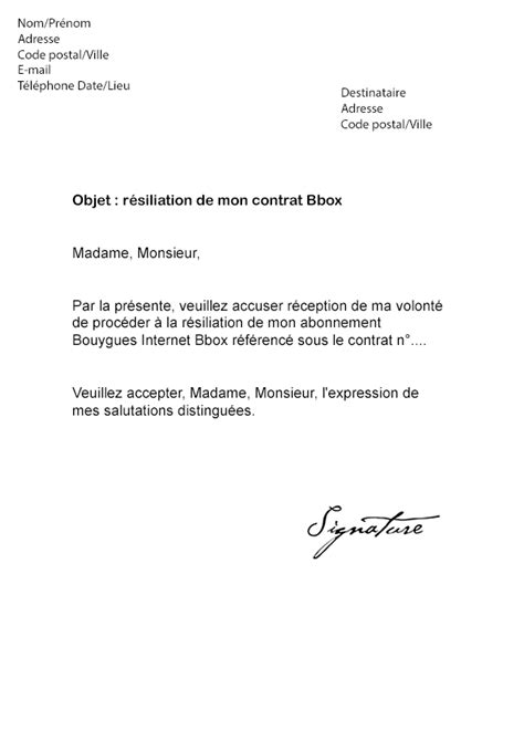 Lettre De Résiliation Mobile Gratuite Modele Lettre Resiliation Box Document