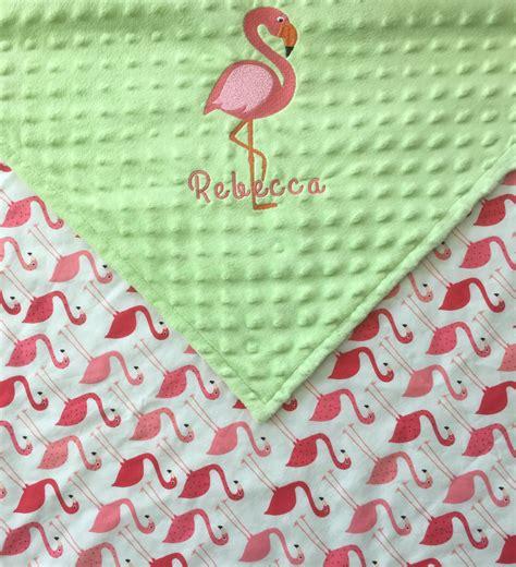 Bababed Baby Blanket Tiny Flamingo flamingo baby blanket embroidered flamingo blanket pink