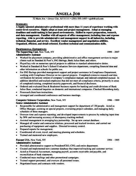 resume sle for executive assistant senior executive assistant resumes sles free sles