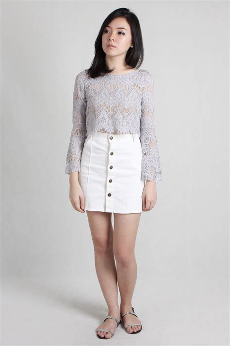 Button Skirt white denim button skirt fashion skirts