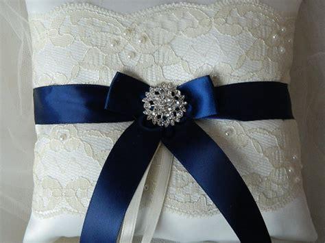 Navy Blue Ring Bearer Pillow by Wedding Ring Bearer Pillow Navy Blue And Ivory By