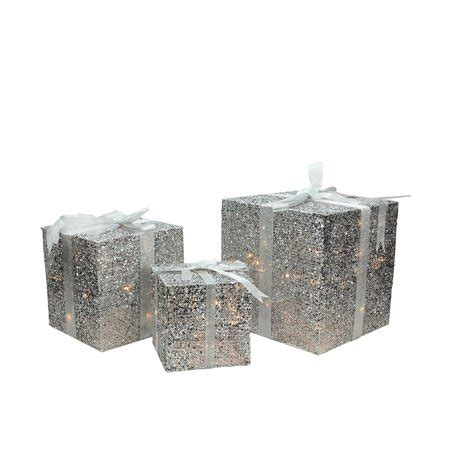 northlight 3 box outdoor set y76231 set of 3 lighted silver glitter gift box yard decoration walmart