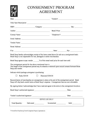 119 Printable Consignment Agreement Template Forms