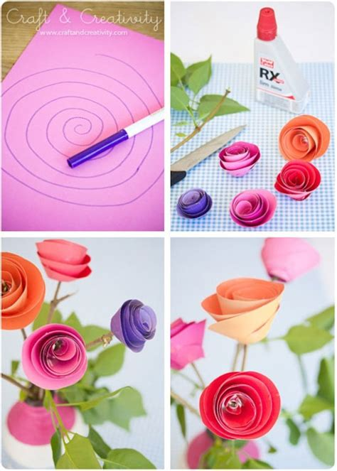 Easy To Make Paper Roses - flores fciles de papel easy paper flowers car interior
