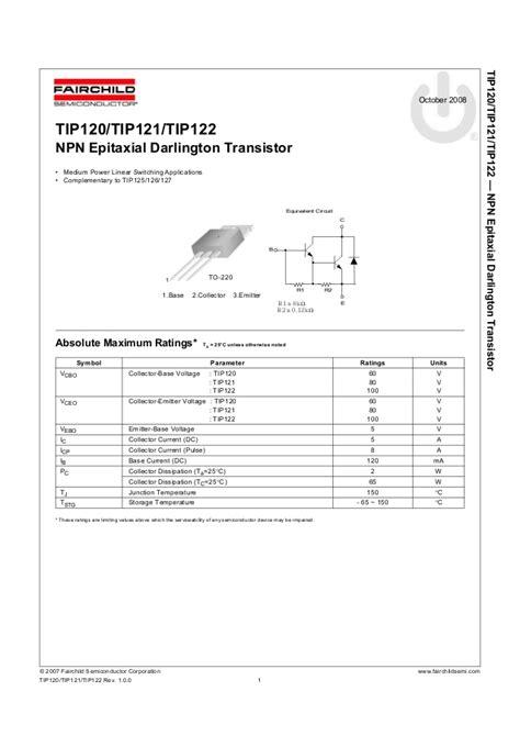 transistor tip 121 datasheet tip120 datasheet