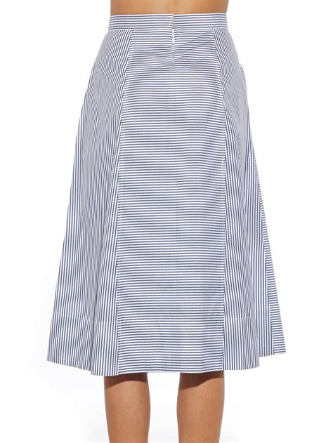 tibi striped pleated cotton skirt in blue lyst