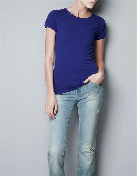 Zara Basic Shirt zara basic t shirt in blue ink blue lyst