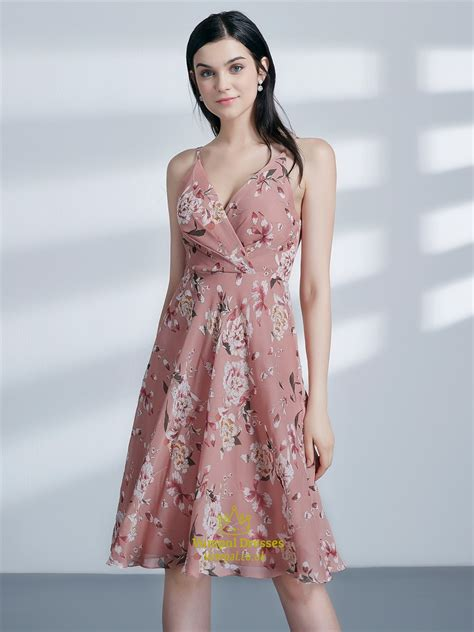 V Neck Floral Chiffon Dress a line pink v neck sleeveless ruched chiffon floral print