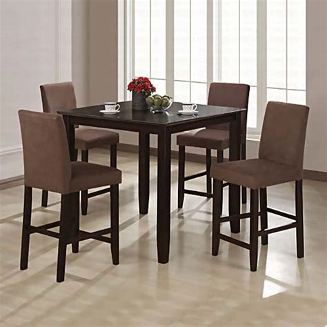 Counter Height Dining Room Chairs | wylie counter height dining room set with brown chairs