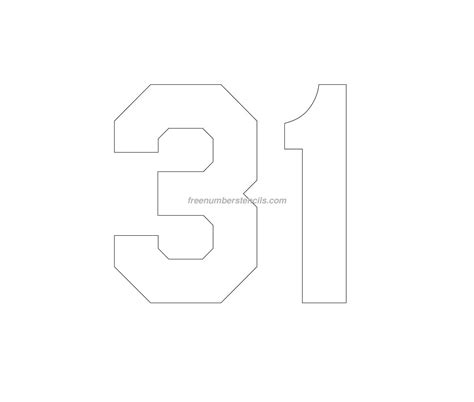 printable jersey numbers free jersey printable 31 number stencil