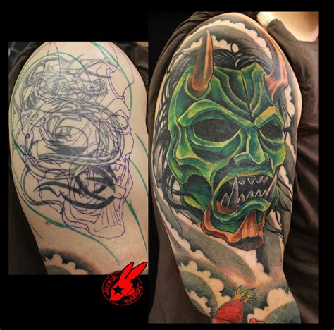 hannya mask tattoo cover up oni demon mask cover up tattoo by jackie rabbit by