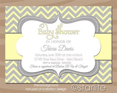 grey and white baby shower invitations baby shower invitation chevron yellow and gray grey by