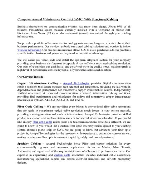 Amc Contract Letter Format Computer Annual Maintenance Contract Amc With Structured Cabling