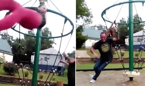 woman falls off swing ride woman knocks down man pushing her on swing life life