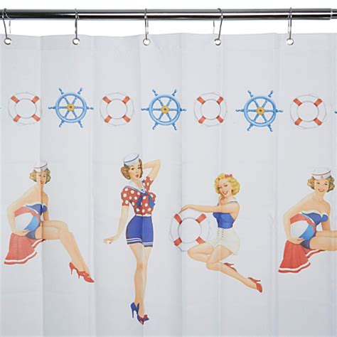 pin up shower curtain george home sailor pin up girls shower curtain bathroom