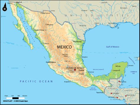physical maps of mexico mexiko physik karte