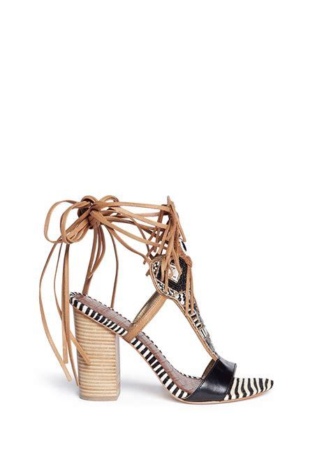 Hair Dryer Leather Shoes lyst sam edelman yates beaded calf hair leather sandals