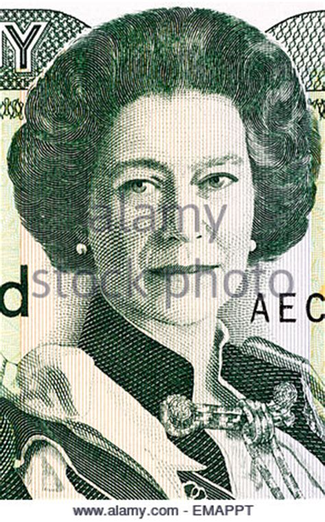 Portrait of Queen Elizabeth II from 1 Pound coin, UK, 1990, on white Stock Photo, Royalty Free