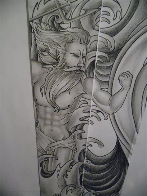 poseidon tattoo design poseidon water design by tattoosuzette on deviantart