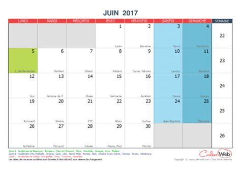 Calendrier 2016 Et 2017 Avec Jours Feries Calendrier Mensuel Mois De Juin 2017 Avec F 234 Tes Jours