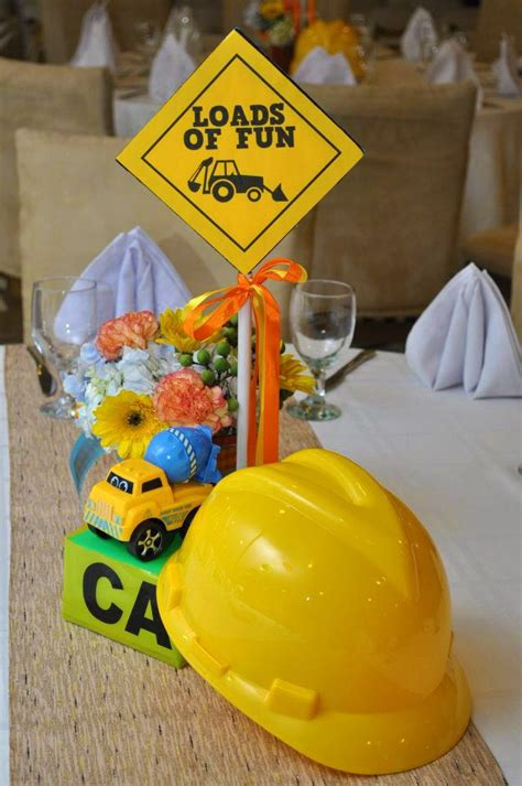 construction themed party table centerpiece birthday
