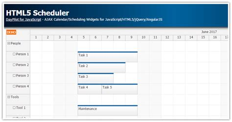 tutorial html5 y javascript html5 scheduler daypilot code