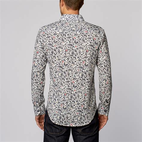 pattern button up floral pattern button up shirt white s isaac b