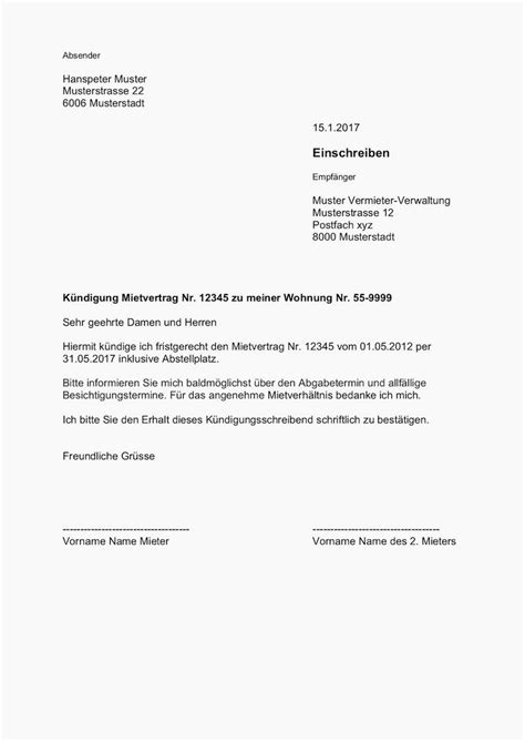 Wie Kündige Ich Einen Mietvertrag by K 252 Ndigungsschreiben Wohnung Design