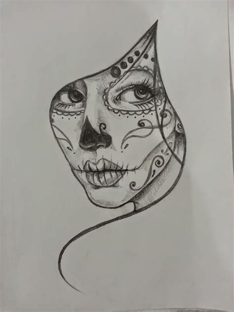girl sugar skull tattoo black and white sugar skull search