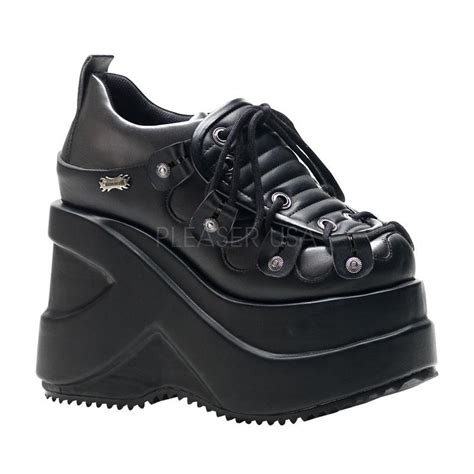 demonia sneakers demonia outlaw 101 cyber black platform shoes