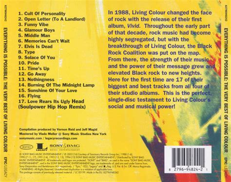 Living Colour L by Car 225 Tula Trasera De Living Colour Everything Is Possible