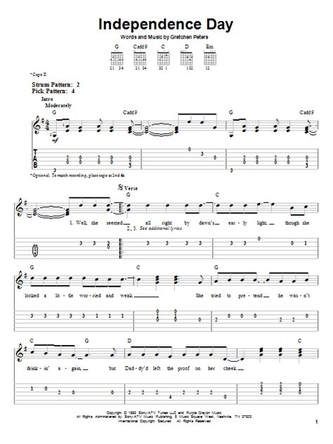 my lyrics and chords by martina mcbride independence day sheet direct