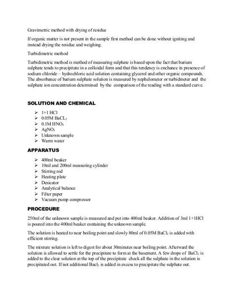gravimetric analysis lab report sle determination of sulphate as barium sulphate using gravimetry