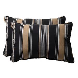 Decorative black and tan stripe rectangle outdoor toss pillows set of