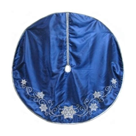 shop holiday living 56 in blue satin christmas tree skirt