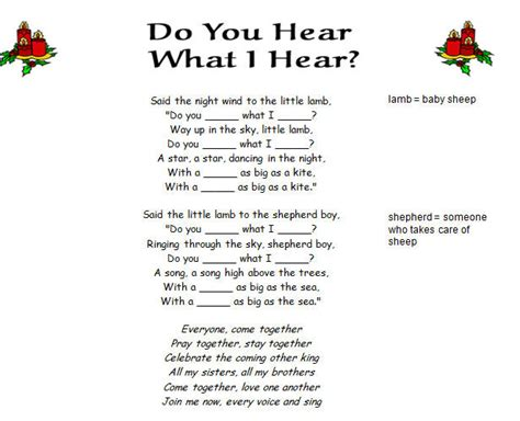 printable lyrics do you hear what i hear song worksheet do you hear what i hear by destiny s child