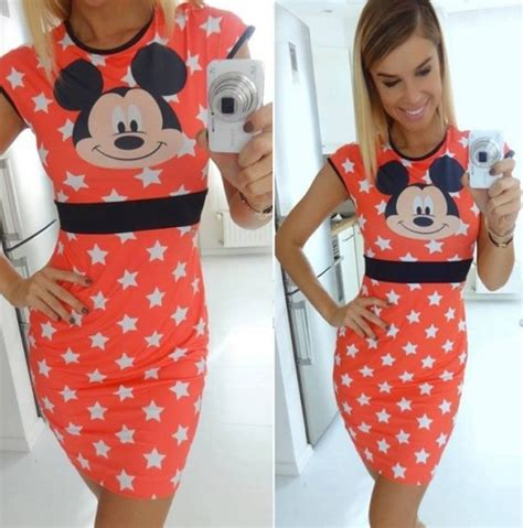 Dress Casual Mickey Mouse s mickey minnie mouse slim fit bodycon pencil dress casual club tops ebay