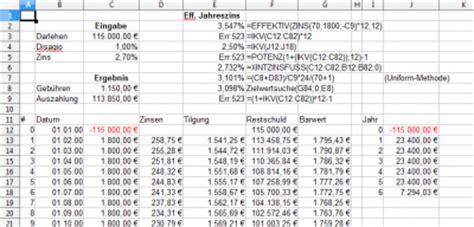 Musterbrief Bearbeitungsgebühr Kredit Pdf Effektiven Zins Berechnen Mit Excel Calc Forum Allgemein
