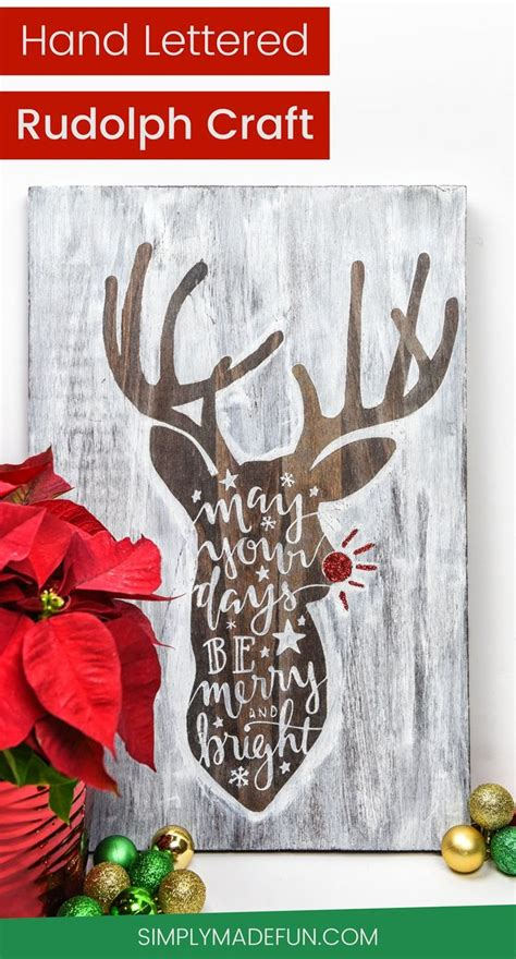 christmas craft show signs make your own lettered rudolph wooden sign craft cricut and silhouettes